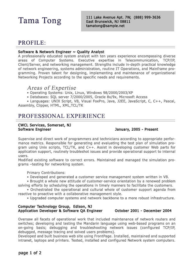 resume sample by resumesplanet.com